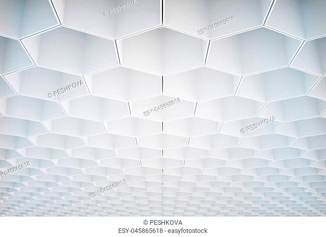 Abstract white honeycomb/hexagon pattern on ceiling. Background or wallpaper. 3D Rendering
