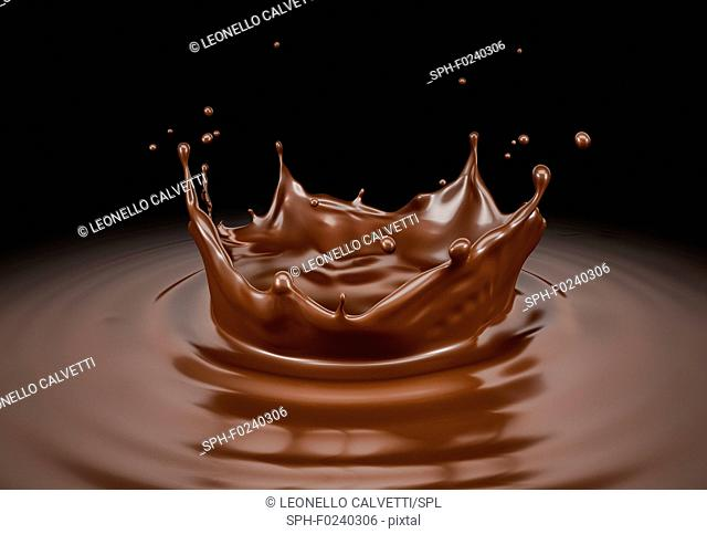 Liquid chocolate crown splash with ripples. Bird eye view. On black background