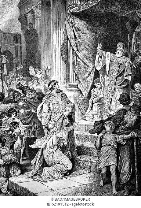 The first excommunication of a prince, Bishop Ambrose of Milan refused to let Emperor Theodosius enter the church and excommunicated him, historical engraving