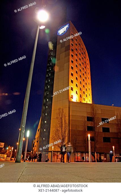 Hotel Ibis at night, Can Drago, Barcelona, Catalonia, Spain