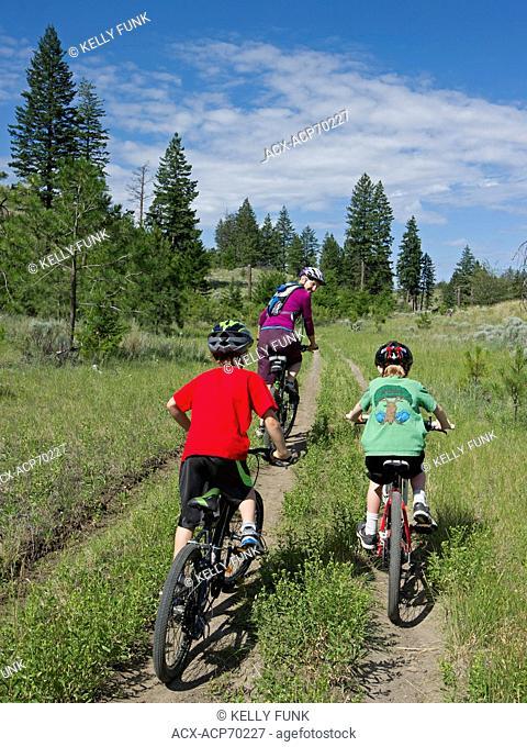 A family of mountain bikers enjoy the trails just North of Kamloops, Thompson Okanagan region, British Columbia, Canada