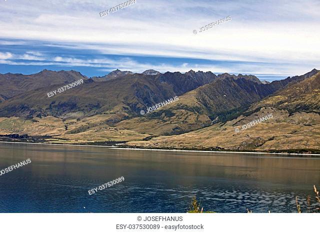 New Zealand - Lake Wanaka and Twin Peaks Mountains, South Island
