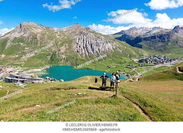 France, Savoie, Vanoise Massif, Tignes, Seen on the lake, Val Claret (to the right) and Tignes le lac (to the left)