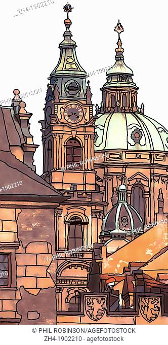 Prague, Czech Republic. St Nicholas Cathedral and Charles bridge - photo / digital drawing combination