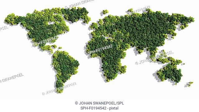 World map made by trees