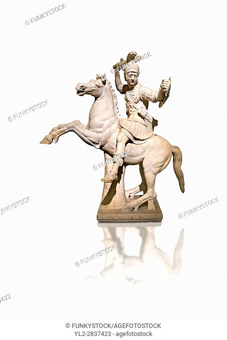 Roman marble sculpture of a warrior on horseback, a 2nd century AD copy from an original 2nd century BC Hellanistic Greek original, inv 6405