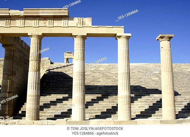 The Acropolis at Lindos , Rhodes , Dodecanese , Greece