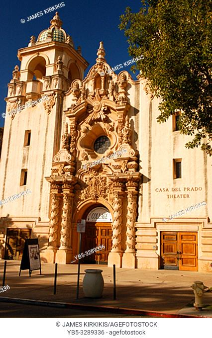 Casa Del Prado, a theater built in the style of a Spanish Mission, in Balboa Park, San Diego, CA