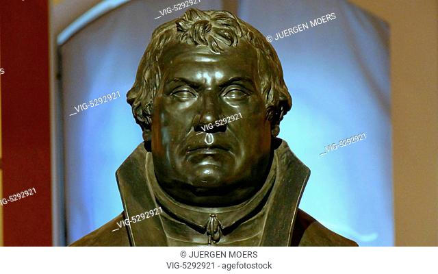 22.05.2015, Germany, Wittenberg, MARTIN LUTHER plaster bust by JOHANN GOTTFRIED SCHADOW. - Wittenberg, Germany, 24/05/2015