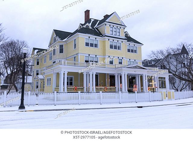 Mackinac Island is a city in Mackinac County in the U. S. state of Michigan. Photographed in the winter with snow