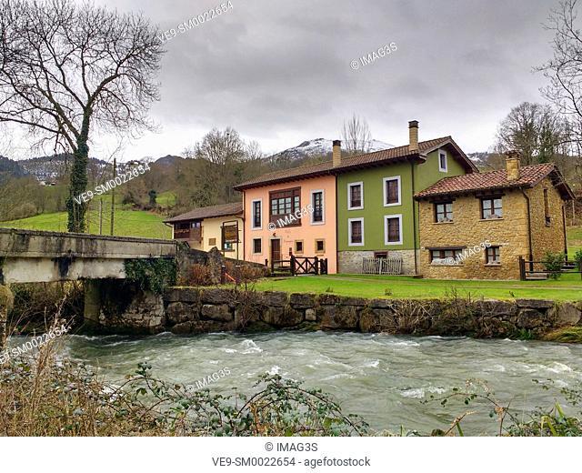Fraynoquiso village and Fuensanta river, Nava municipality, Asturias, Spain