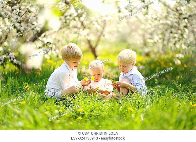 Three Happy Little Children Picking Flowers in Meadow