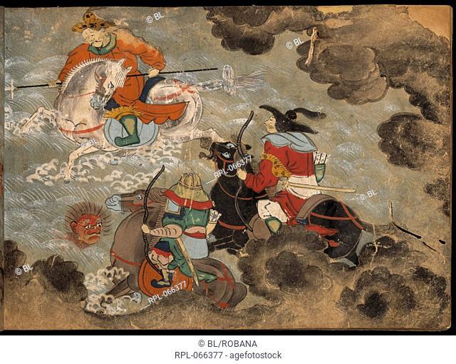 Mounted soldiers fighting demons, Kowakamai manuscript dealing with the life of Fujiwara no Kamatari, his daughter and a precious crystal ball