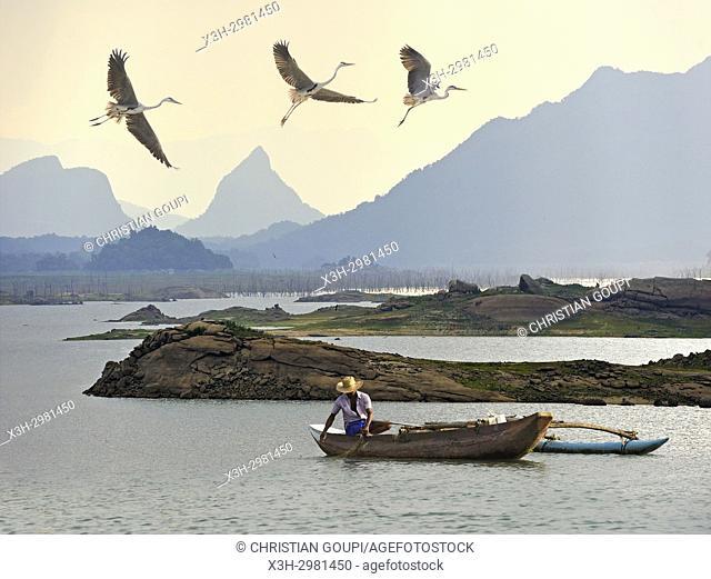 fisherman with a pirogue on the Senanayake Samudraya Lake, Gal Oya National Park, Sri Lanka, Indian subcontinent, South Asia