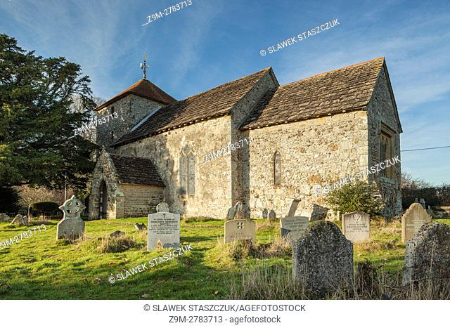Autumn afternoon at Stopham village church, West Sussex, England