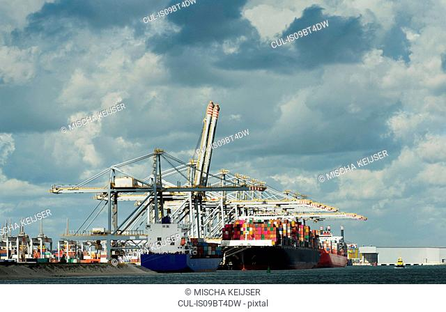 Container terminal situated on the newest part of Rotterdam harbour, Netherlands