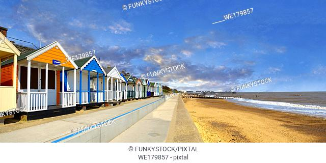 Traditional seaside colorful beach huts on the beachof Southwold, Suffolk, England