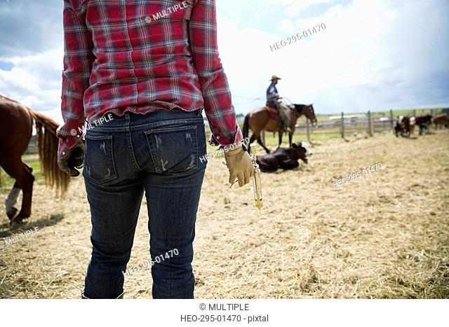 Female cattle rancher with vaccination equipment