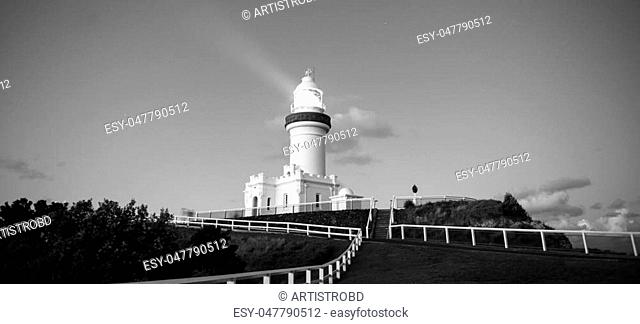 Cape Byron lighthouse in NSW, Australia. Black and white image