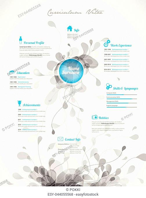 Creative, turquoise color CV / resume template