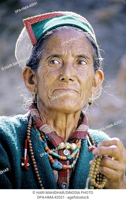 Old woman from himachal pradesh ; india