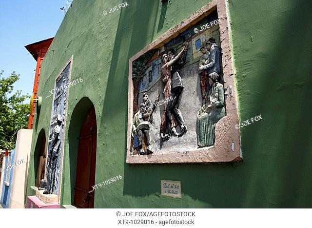 wall mural depicting the tango in caminito street la boca capital federal buenos aires republic of argentina south america