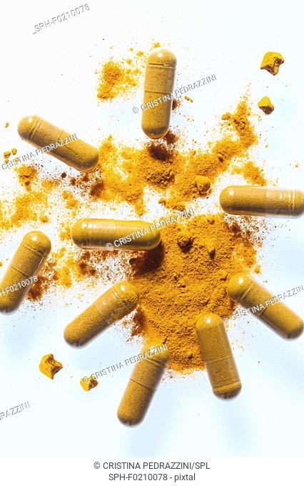 Turmeric supplement capsules and powder