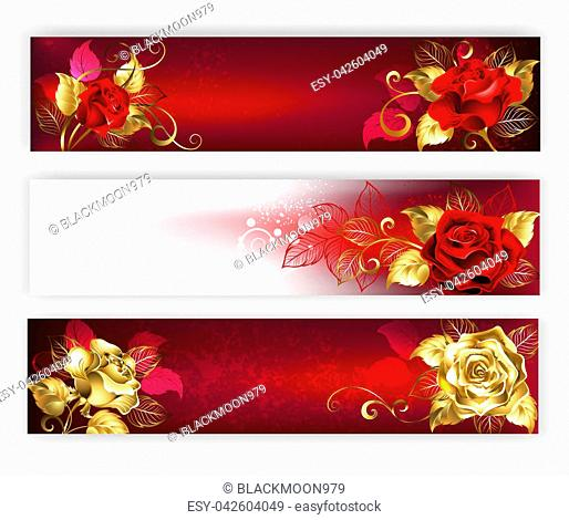 Three horizontal banners with red and gold jewelry roses with gold leaf. Golden roses. Design with roses