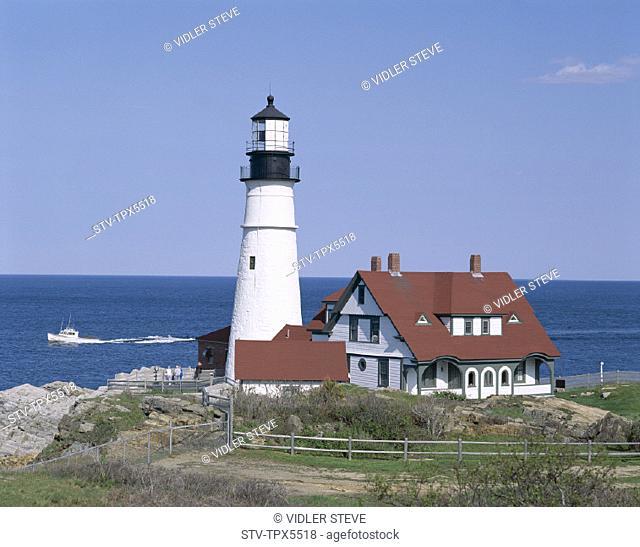 America, Cape elizabeth, Head, Holiday, Landmark, Lighthouse, Maine, New england, Portland, Tourism, Travel, United states, USA