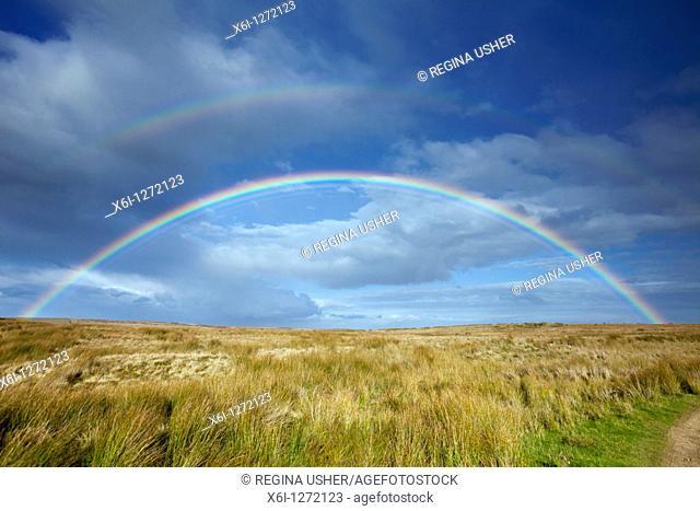 Rainbow, over moorland, autumn, Allendale, Northumberland, England
