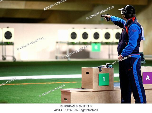 27 04 2012 London, England Alexei Klimov RUS in action during the final of the mens 25m Rapid Fire Pistol competition