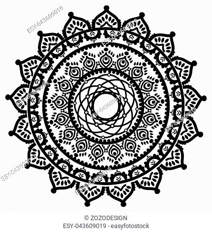 e7ec3409c8bd5 Asian culture and henna tattoo inspired mandala in native American  dreamcatcher style made out of swirly