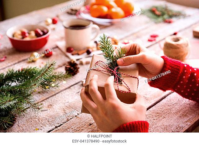 Christmas composition on a vintage wooden background. Top view