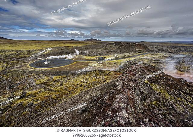 Steaming boreholes, geothermal area, Reykjanes Peninsula, Iceland