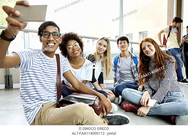 Student taking selfie with classmates