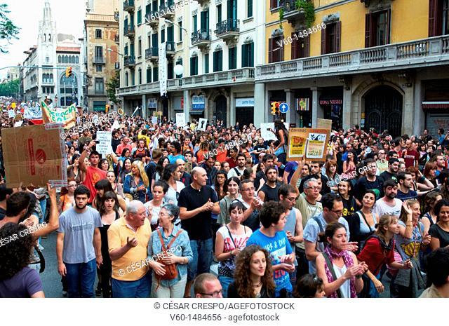 -Crowds of Indignants Movement 15M- Barcelona (Spain)