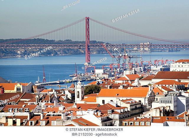 View from the Miradouro da Sao Jorge lookout on the former Moorish castle Castelo de Sao Jorge towards the historic town centre of Lisbon and the Rio Tejo River...