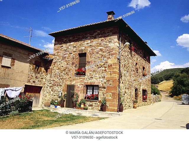 Facade of house. Pineda de la Sierra, Burgos province, Castilla Leon, Spain