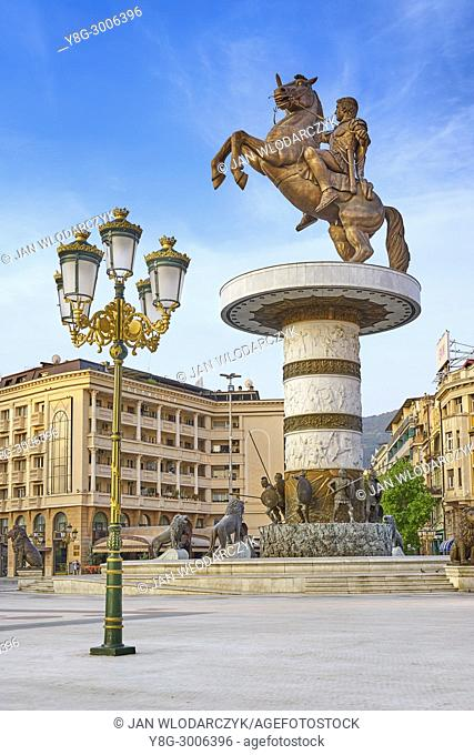 The statue of Alexander the Great, Macedonia Square, Skopje, Republic of Macedonia