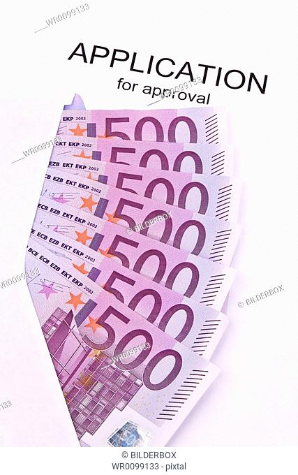 Many euro notes and application form English