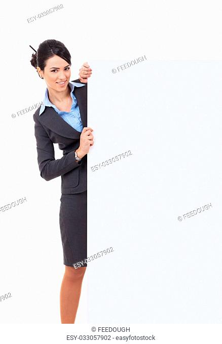 Young businesswoman with blank board. Isolated over white