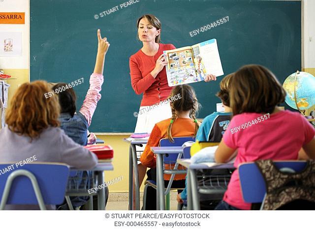 Female preschool teacher in the classroom