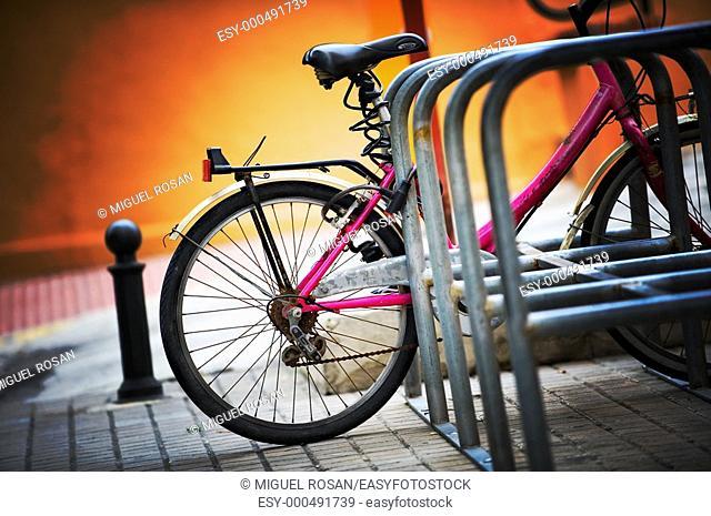 Bicycle parking along the City of Denia. Alicante. Comunidad Valenciana. Spain