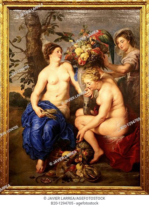Ninfas con el cuerno de la abundancia (Ceres with two Nymphs), painting by Peter Paul Rubens, Prado Museum, Madrid, Spain