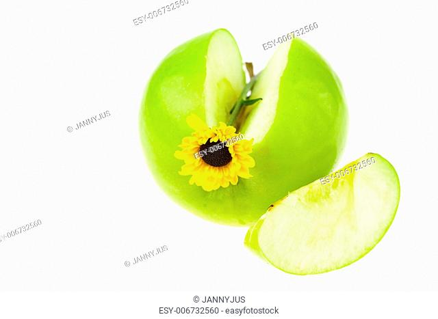 apple with a yellow flower isolated on white