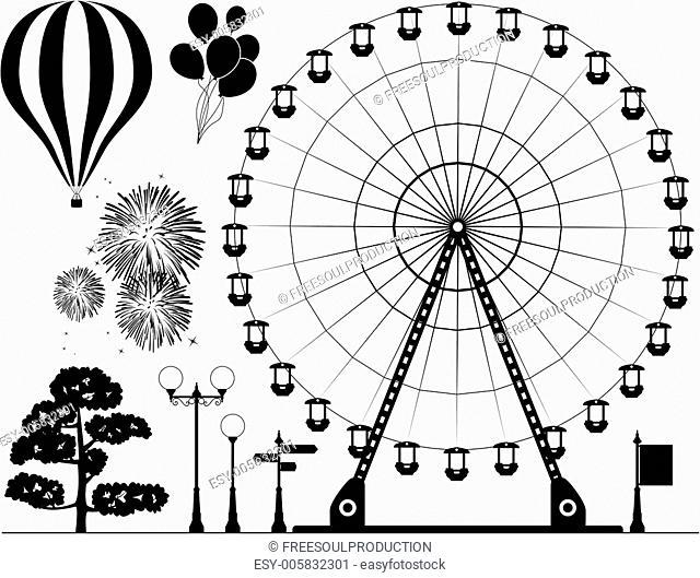 vector elements of amusement park