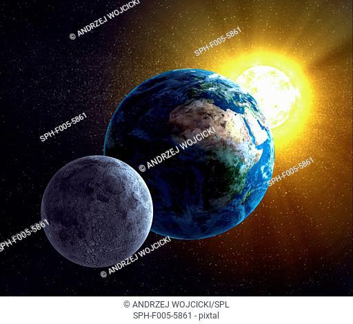 Earth, Moon and Sun, computer artwork