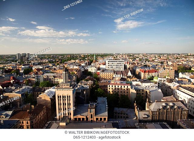 Latvia, Riga, elevated view of New Riga, late afternoon