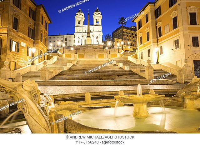 The Spanish Steps (Scalinata di Trinità dei Monti), Rome, Italy, between Piazza di Spagna and Piazza Trinità dei Monti & Trinità dei Monti church