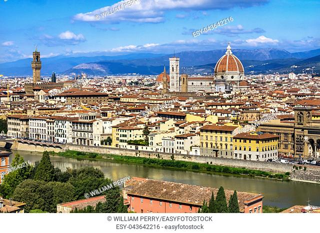 Palazzo Vecchio Duomo Cityscape Arno River Overview Florence Tuscany Italy